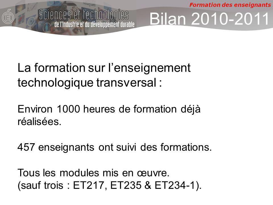 Formation des enseignants Bilan 2010-2011 La formation sur lenseignement technologique transversal : Environ 1000 heures de formation déjà réalisées.