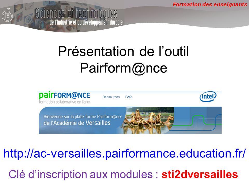 Formation des enseignants Présentation de loutil Pairform@nce http://ac-versailles.pairformance.education.fr/ Clé dinscription aux modules :sti2dversailles