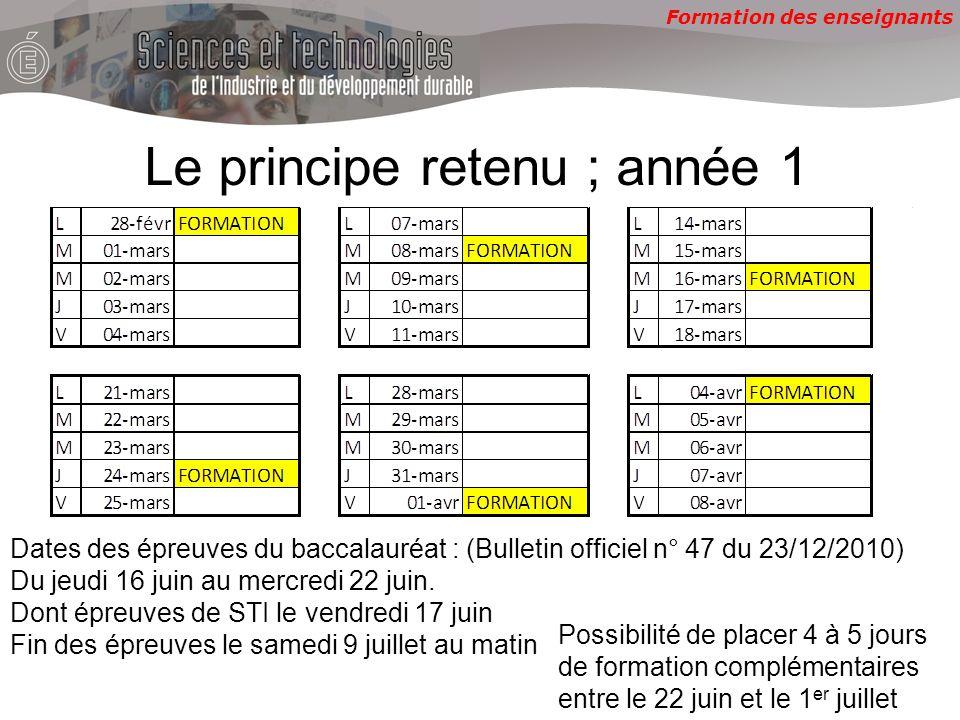 Formation des enseignants Le principe retenu ; année 1 Dates des épreuves du baccalauréat : (Bulletin officiel n° 47 du 23/12/2010) Du jeudi 16 juin au mercredi 22 juin.