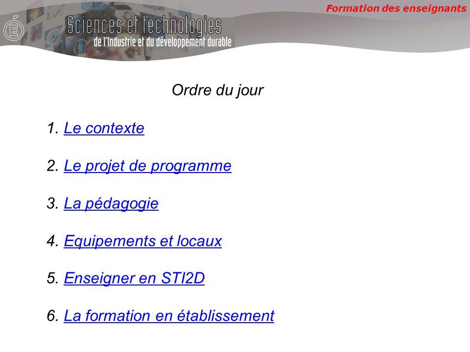 Formation des enseignants Ordre du jour 1.Le contexteLe contexte 2.Le projet de programmeLe projet de programme 3.La pédagogieLa pédagogie 4.Equipemen