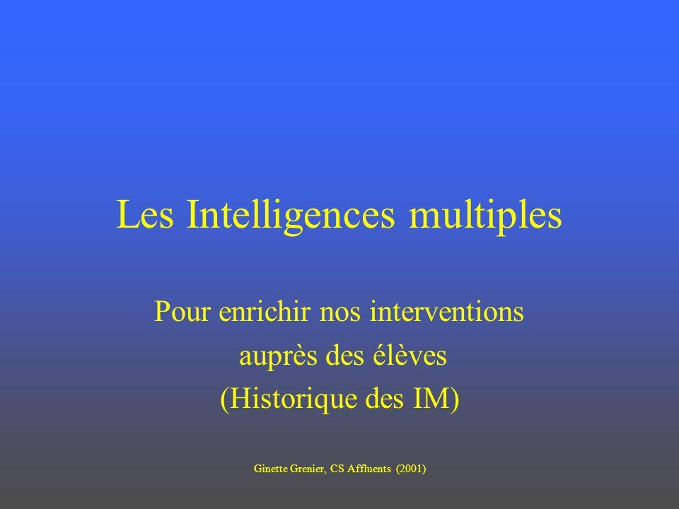 Les Intelligences multiples Pour enrichir nos interventions auprès des élèves (Historique des IM) Ginette Grenier, CS Affluents (2001)