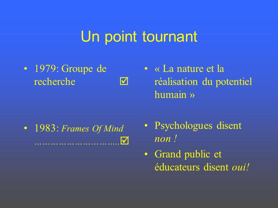 Un point tournant 1979: Groupe de recherche 1983: Frames Of Mind ………………………….. « La nature et la réalisation du potentiel humain » Psychologues disent