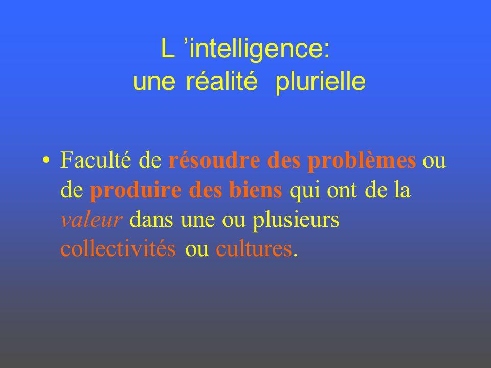 L intelligence: une réalité plurielle Faculté de résoudre des problèmes ou de produire des biens qui ont de la valeur dans une ou plusieurs collectivi