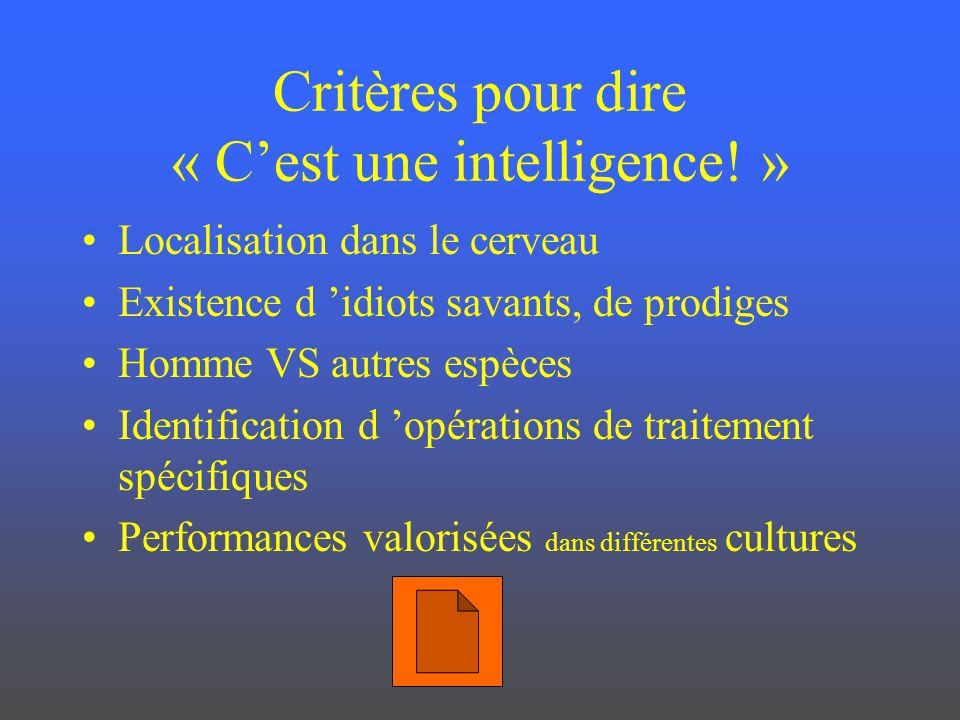 Critères pour dire « Cest une intelligence! » Localisation dans le cerveau Existence d idiots savants, de prodiges Homme VS autres espèces Identificat