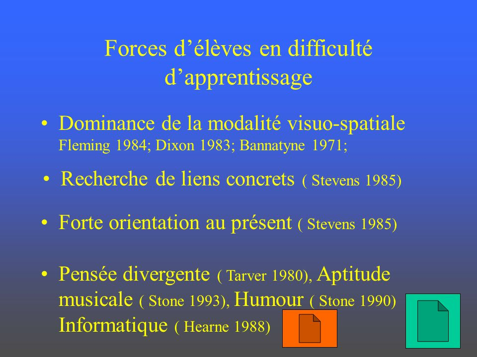 Forces délèves en difficulté dapprentissage Dominance de la modalité visuo-spatiale Fleming 1984; Dixon 1983; Bannatyne 1971; Recherche de liens concr