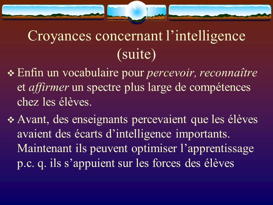 Croyances concernant lintelligence (suite) Enfin un vocabulaire pour percevoir, reconnaître et affirmer un spectre plus large de compétences chez les élèves.