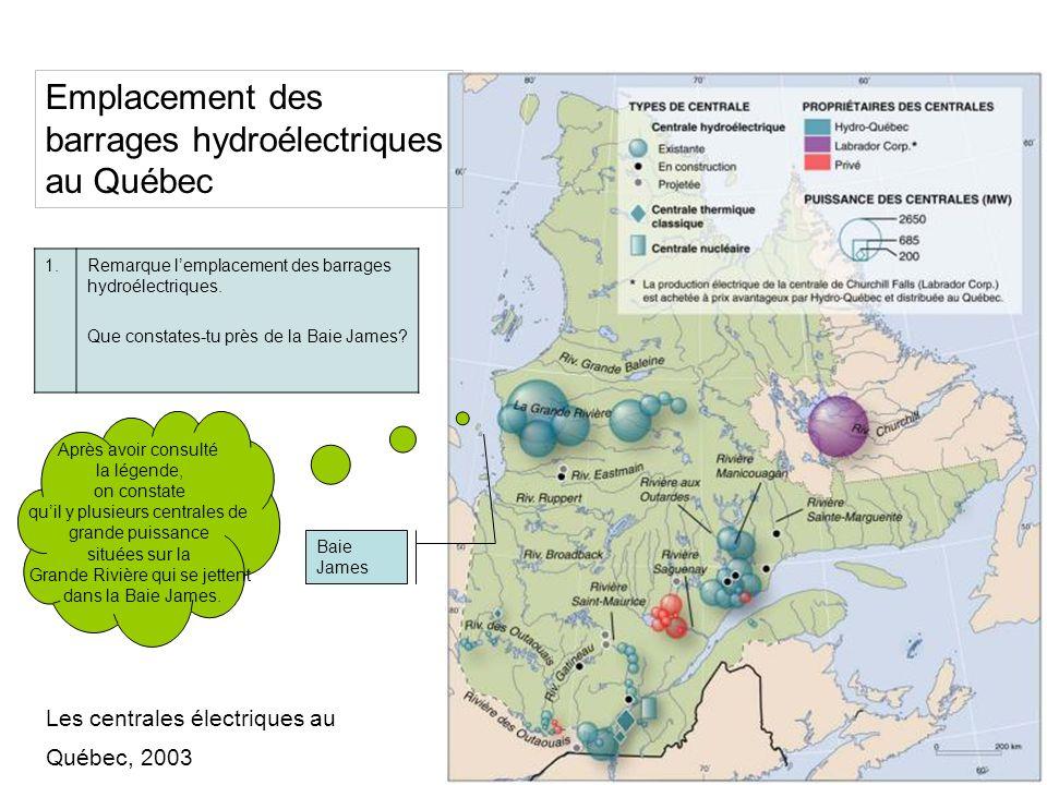Emplacement des barrages hydroélectriques au Québec 1.Remarque lemplacement des barrages hydroélectriques. Que constates-tu près de la Baie James? Bai