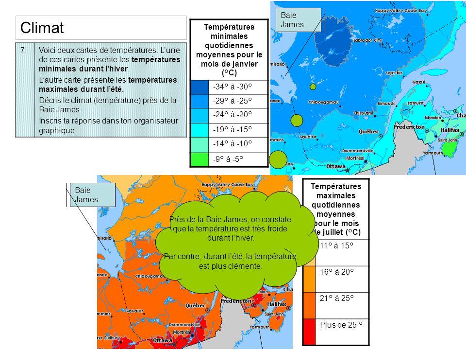 7.Voici deux cartes de températures. Lune de ces cartes présente les températures minimales durant lhiver. Lautre carte présente les températures maxi