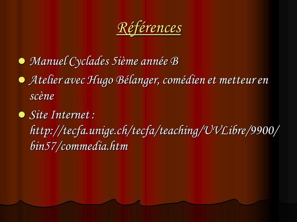 Références Manuel Cyclades 5ième année B Manuel Cyclades 5ième année B Atelier avec Hugo Bélanger, comédien et metteur en scène Atelier avec Hugo Béla
