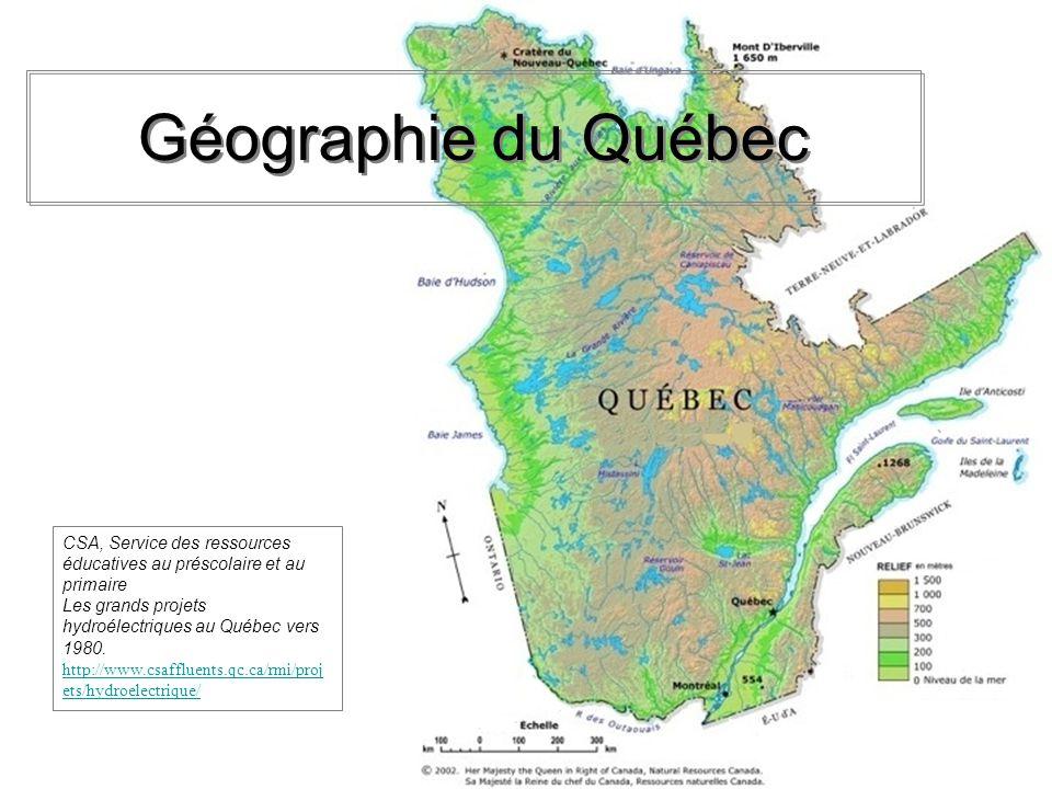 Emplacement des barrages hydroélectriques au Québec 1.Remarque lemplacement des barrages hydroélectriques.