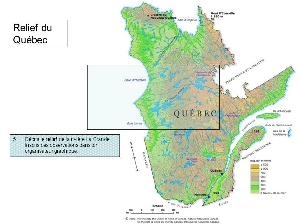 6.Voici une coupe du relief entre les Basses-terres du Saint-Laurent où sont les grands centres comme Montréal, Québec, … et les Basses-terres de la Baie dHudson.