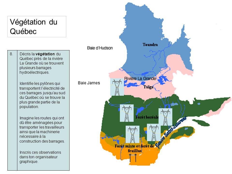 Végétation du Québec 8.Décris la végétation du Québec près de la rivière La Grande où se trouvent plusieurs barrages hydroélectriques. Identifie les p