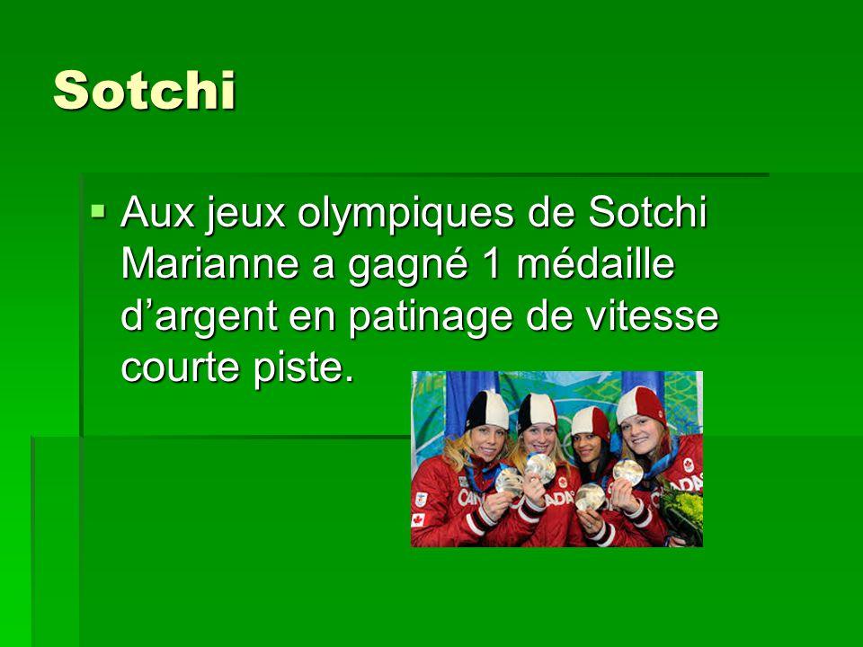 Sotchi Aux jeux olympiques de Sotchi Marianne a gagné 1 médaille dargent en patinage de vitesse courte piste. Aux jeux olympiques de Sotchi Marianne a