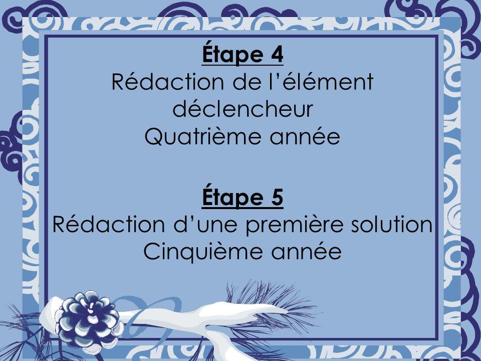 Étape 4 Rédaction de lélément déclencheur Quatrième année Étape 5 Rédaction dune première solution Cinquième année