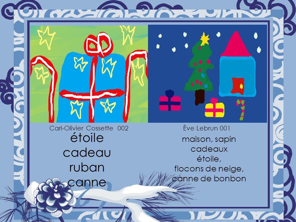 étoile cadeau ruban canne maison, sapin cadeaux étoile, flocons de neige, canne de bonbon Carl-Olivier Cossette 002Ève Lebrun 001
