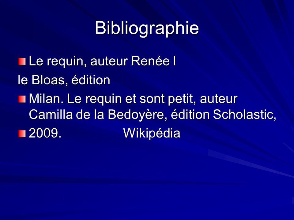 Bibliographie Le requin, auteur Renée l le Bloas, édition Milan. Le requin et sont petit, auteur Camilla de la Bedoyère, édition Scholastic, 2009. Wik