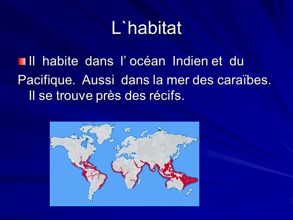 L`habitat Il habite dans l océan Indien et du Pacifique.