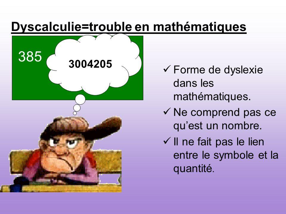 Dyscalculie=trouble en mathématiques Forme de dyslexie dans les mathématiques. Ne comprend pas ce quest un nombre. Il ne fait pas le lien entre le sym