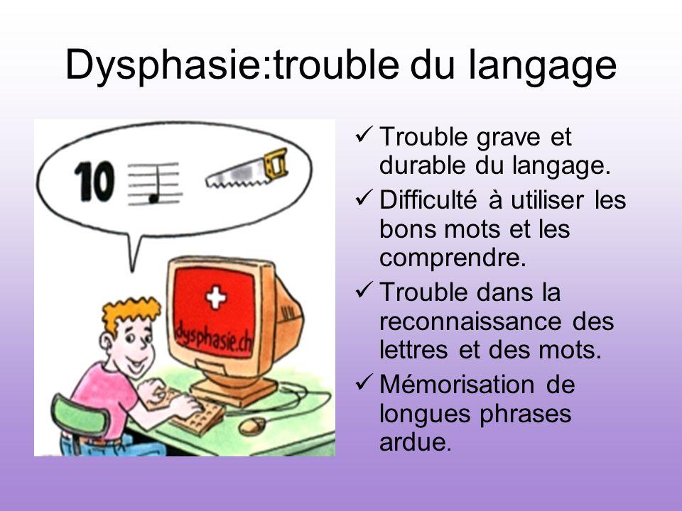 Dysphasie:trouble du langage Trouble grave et durable du langage. Difficulté à utiliser les bons mots et les comprendre. Trouble dans la reconnaissanc