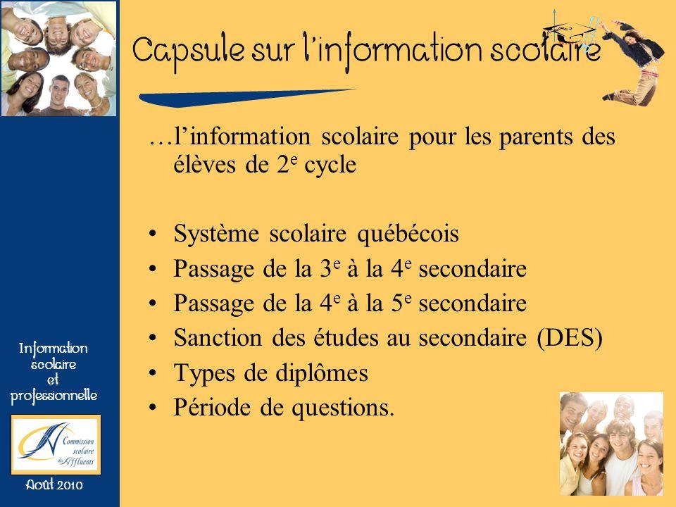 Capsule sur linformation scolaire Information scolaire et professionnelle Août 2010 Les diplômes relevant du niveau de formation Universitaire (système scolaire) Baccalauréat (3 ou 4 ans) Maîtrise (2 ans) Doctorat (3 ans et plus)
