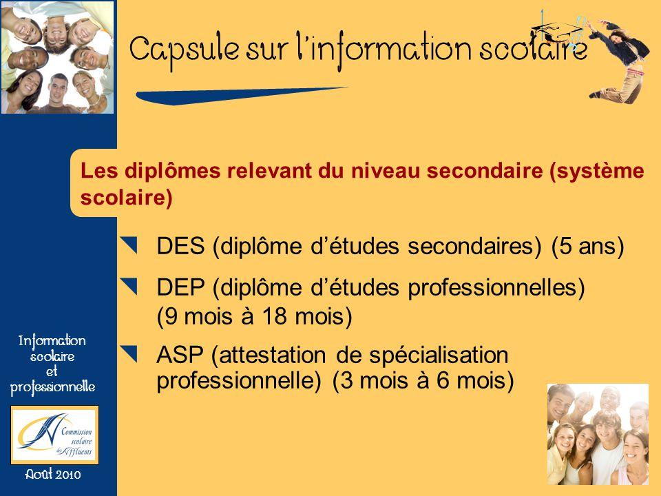 Capsule sur linformation scolaire Information scolaire et professionnelle Août 2010 Les diplômes relevant du niveau secondaire (système scolaire) DES (diplôme détudes secondaires) (5 ans) DEP (diplôme détudes professionnelles) (9 mois à 18 mois) ASP (attestation de spécialisation professionnelle) (3 mois à 6 mois)