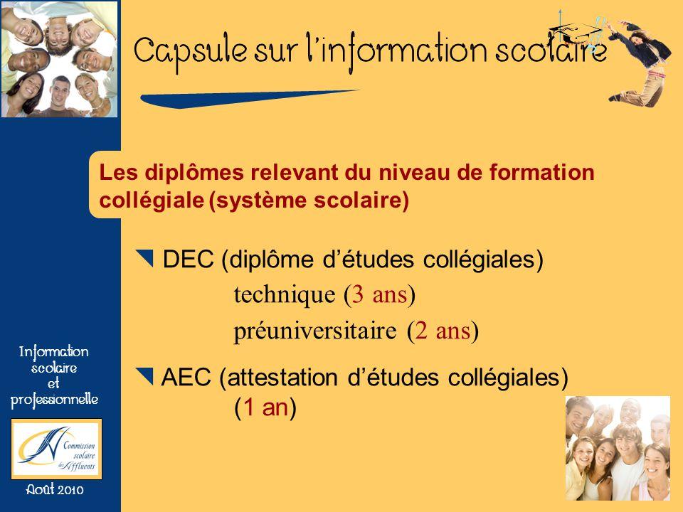 Capsule sur linformation scolaire Information scolaire et professionnelle Août 2010 Les diplômes relevant du niveau de formation collégiale (système s