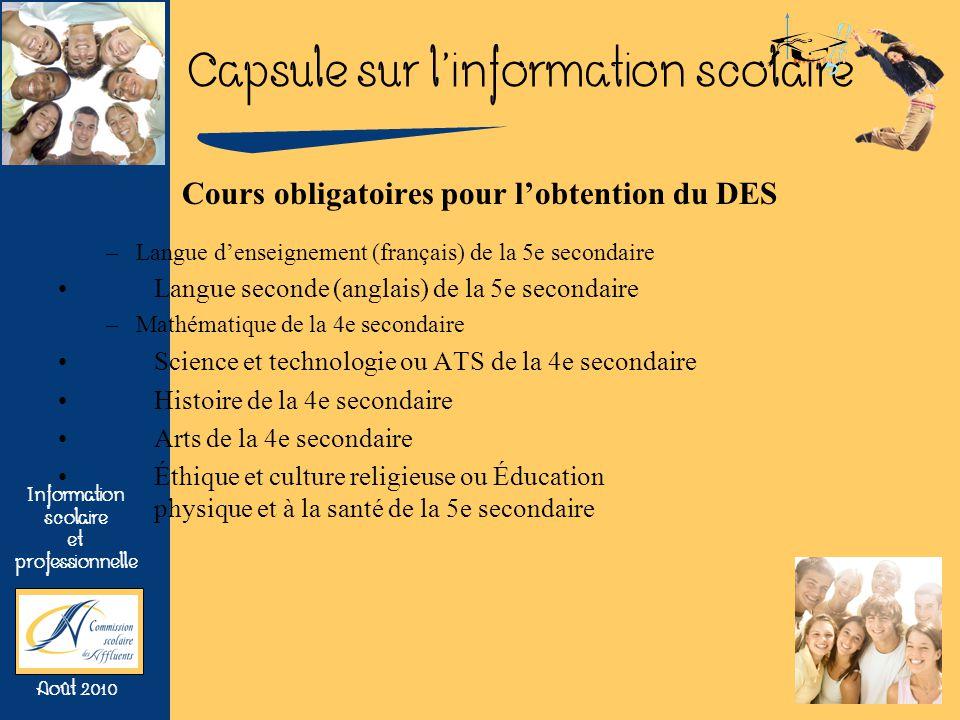 Capsule sur linformation scolaire Information scolaire et professionnelle Août 2010 Cours obligatoires pour lobtention du DES –Langue denseignement (f