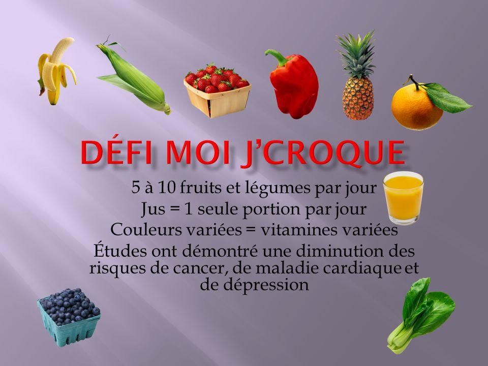 5 à 10 fruits et légumes par jour Jus = 1 seule portion par jour Couleurs variées = vitamines variées Études ont démontré une diminution des risques de cancer, de maladie cardiaque et de dépression