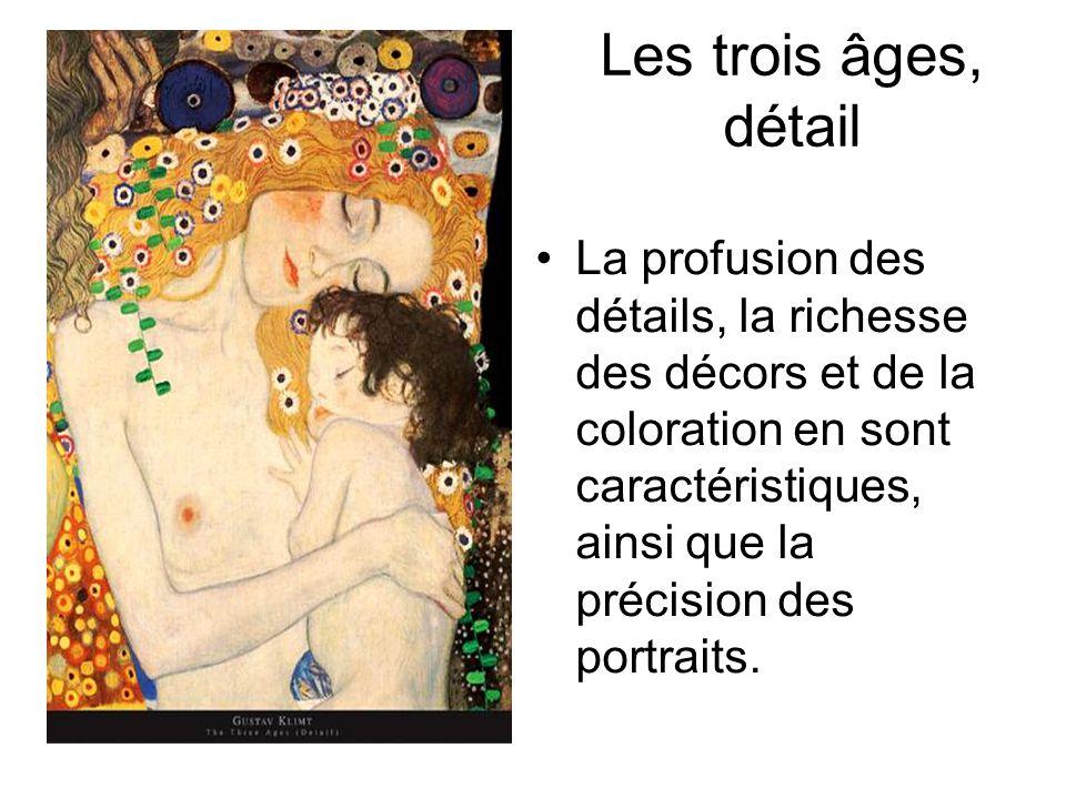 Les trois âges, détail La profusion des détails, la richesse des décors et de la coloration en sont caractéristiques, ainsi que la précision des portraits.