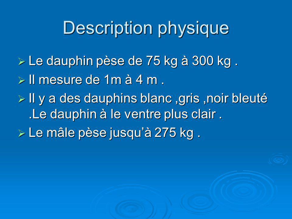 Description physique Le dauphin pèse de 75 kg à 300 kg. Le dauphin pèse de 75 kg à 300 kg. Il mesure de 1m à 4 m. Il mesure de 1m à 4 m. Il y a des da