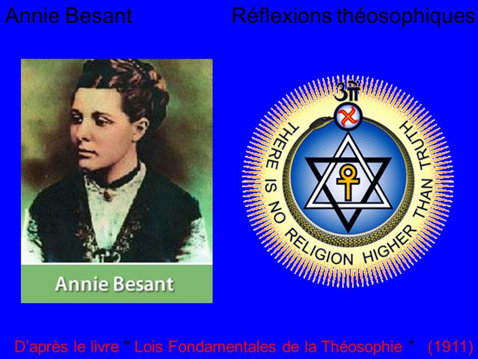 Annie Besant Réflexions théosophiques Daprès le livre