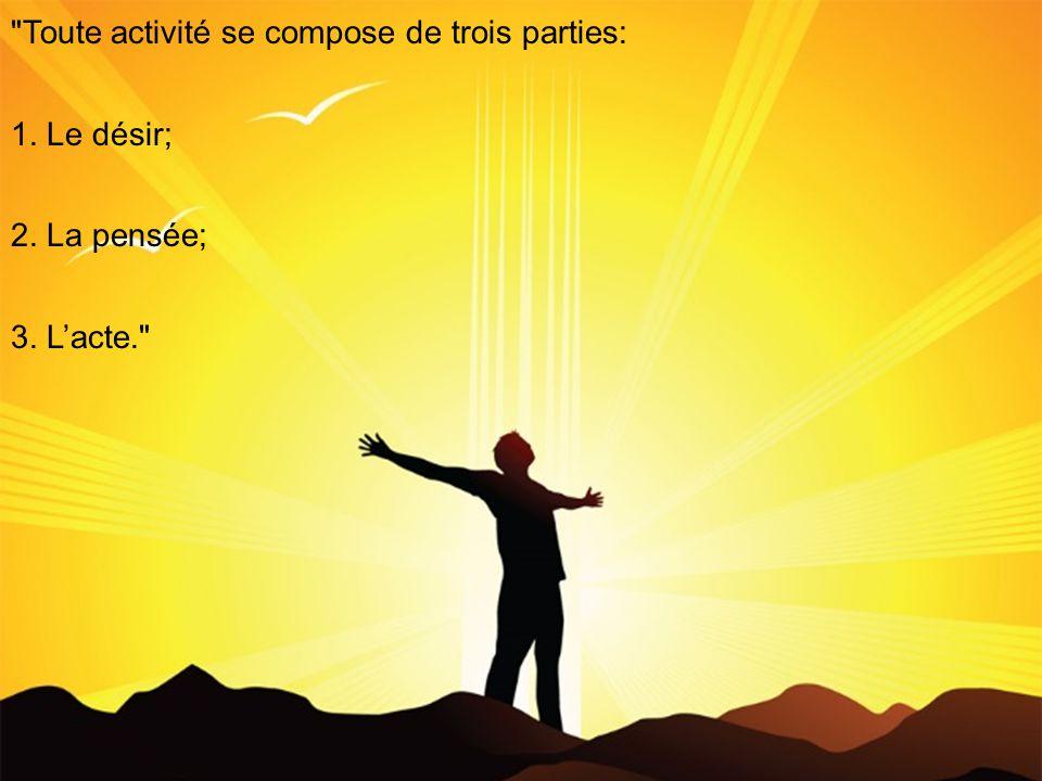 Toute activité se compose de trois parties: 1. Le désir; 2. La pensée; 3. Lacte.