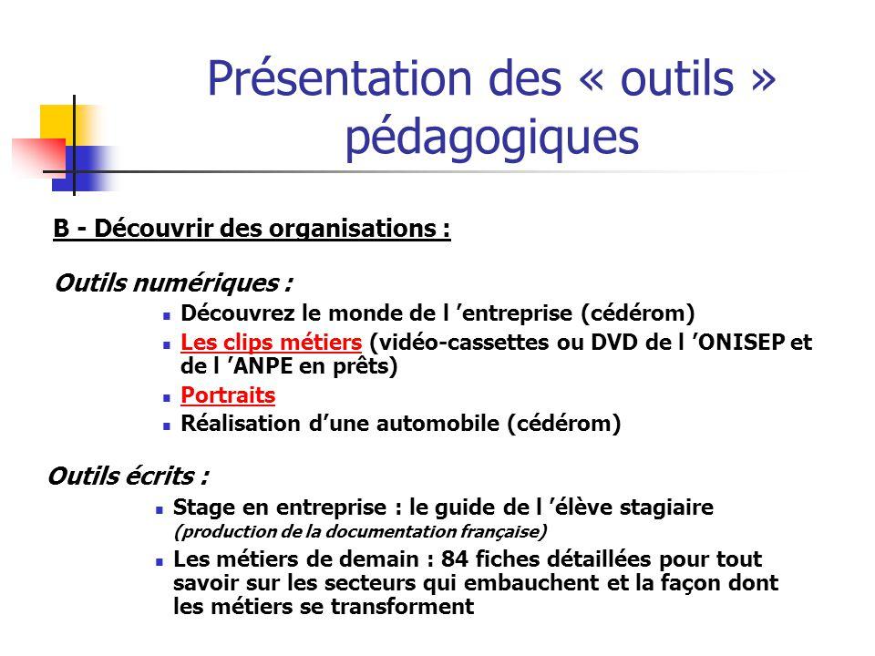 Présentation des « outils » pédagogiques B - Découvrir des organisations : Outils numériques : Découvrez le monde de l entreprise (cédérom) Les clips