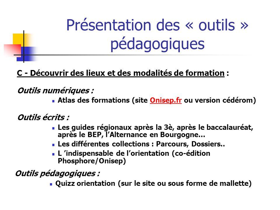 Présentation des « outils » pédagogiques C - Découvrir des lieux et des modalités de formation : Outils numériques : Atlas des formations (site Onisep