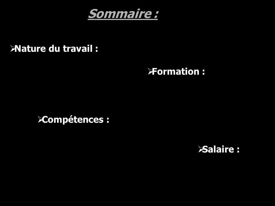 Sommaire : Formation : Compétences : Salaire : Nature du travail :