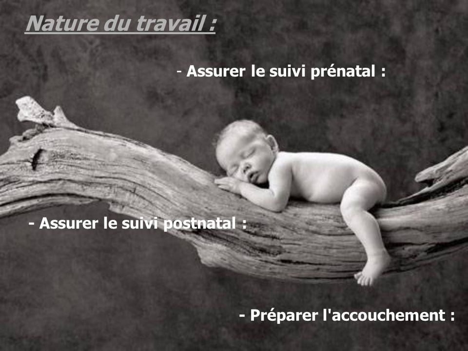 - Assurer le suivi prénatal : - Préparer l'accouchement : - Assurer le suivi postnatal :