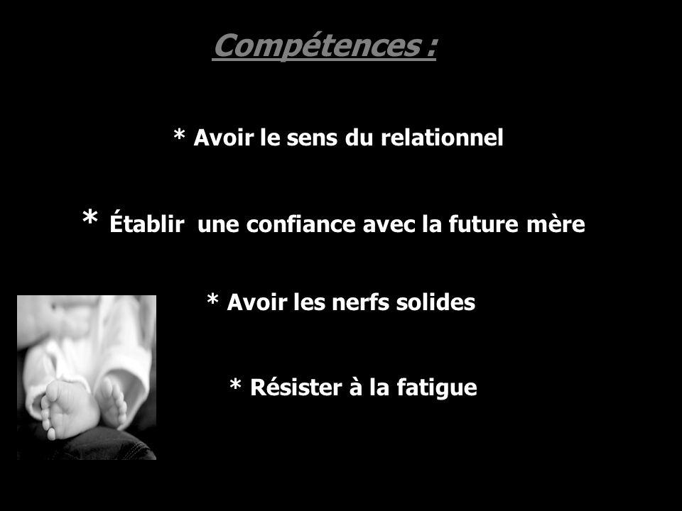 Compétences : * Avoir le sens du relationnel * Avoir les nerfs solides * Établir une confiance avec la future mère * Résister à la fatigue