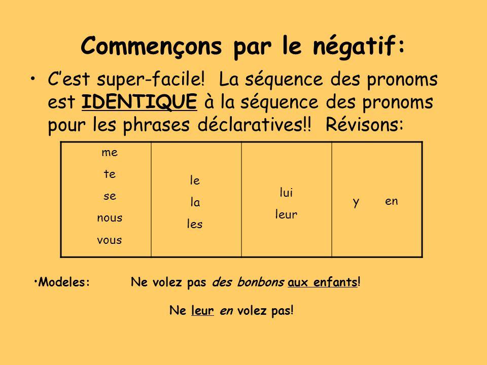 Commençons par le négatif: Cest super-facile! La séquence des pronoms est IDENTIQUE à la séquence des pronoms pour les phrases déclaratives!! Révisons
