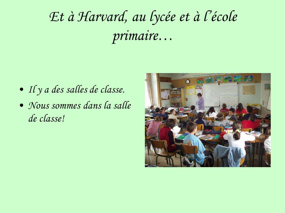 Et à Harvard, au lycée et à lécole primaire… Il y a des salles de classe.