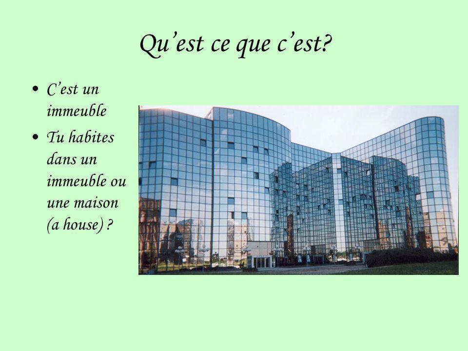 Quest ce que cest? Cest un immeuble Tu habites dans un immeuble ou une maison (a house) ?
