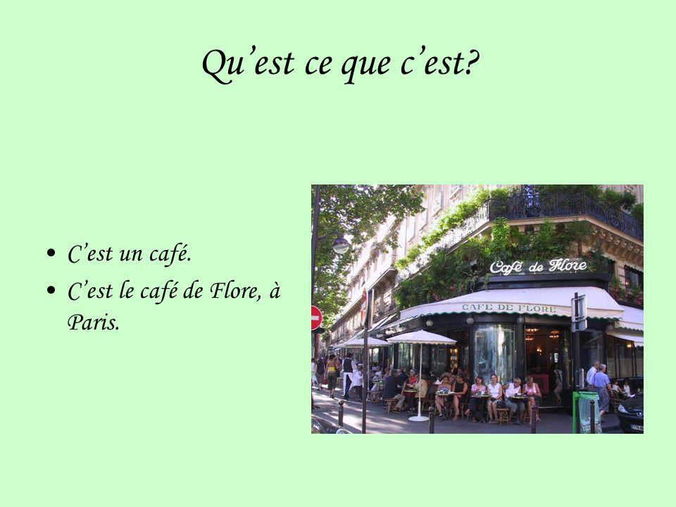 Quest ce que cest? Cest un café. Cest le café de Flore, à Paris.
