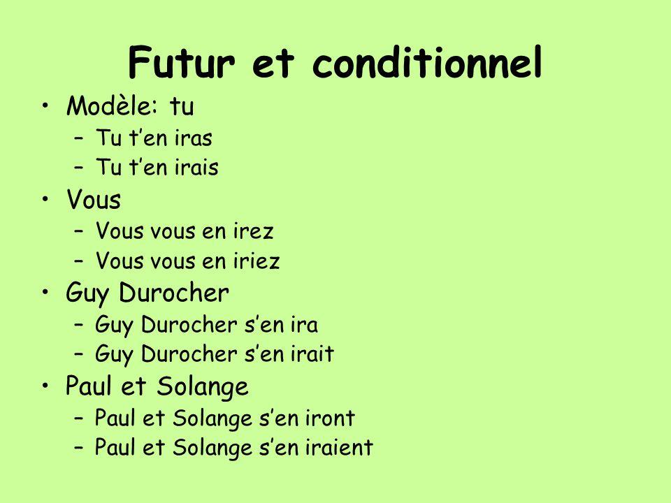 Futur et conditionnel Modèle: tu –Tu ten iras –Tu ten irais Vous –Vous vous en irez –Vous vous en iriez Guy Durocher –Guy Durocher sen ira –Guy Duroch