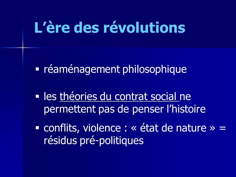 Lère des révolutions réaménagement philosophique les théories du contrat social ne permettent pas de penser lhistoire conflits, violence : « état de nature » = résidus pré-politiques