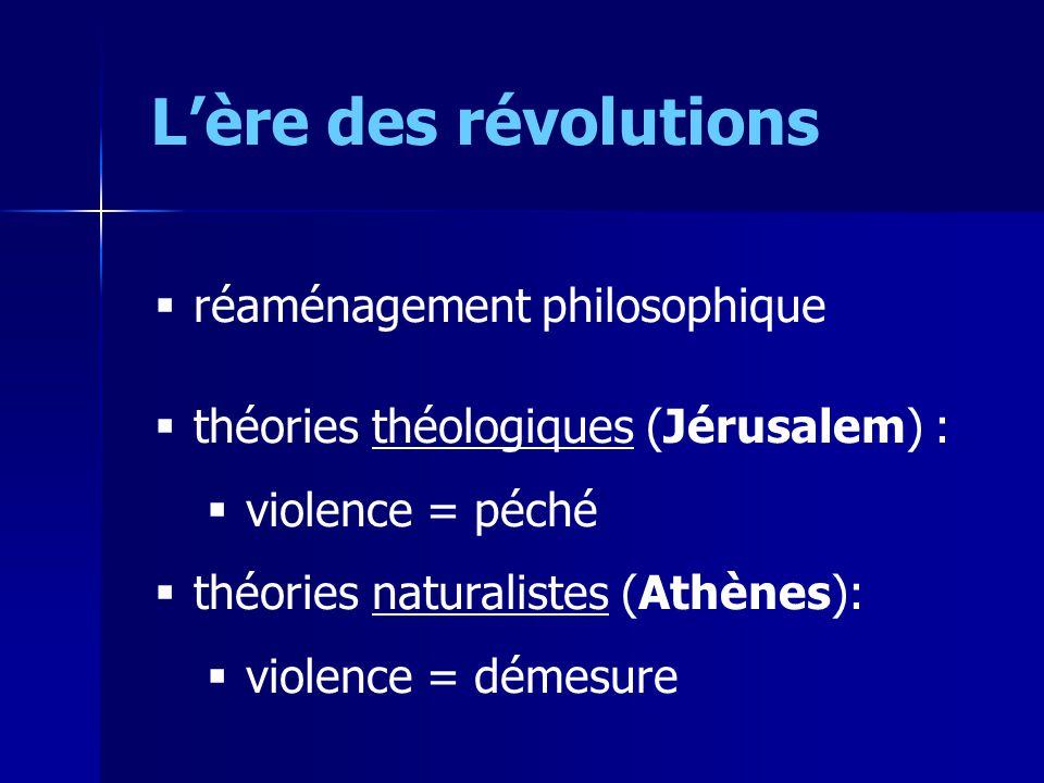 Lère des révolutions réaménagement philosophique théories théologiques (Jérusalem) : violence = péché théories naturalistes (Athènes): violence = démesure