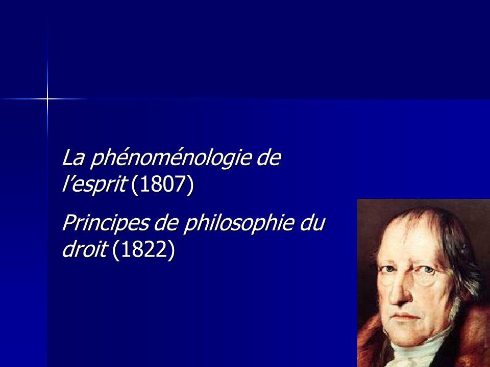 La phénoménologie de lesprit (1807) Principes de philosophie du droit (1822)