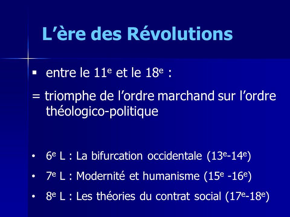 Lère des Révolutions entre le 11 e et le 18 e : = triomphe de lordre marchand sur lordre théologico-politique 6 e L : La bifurcation occidentale (13 e -14 e ) 7 e L : Modernité et humanisme (15 e -16 e ) 8 e L : Les théories du contrat social (17 e -18 e )