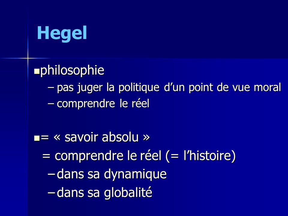 Hegel philosophie philosophie –pas juger la politique dun point de vue moral –comprendre le réel = « savoir absolu » = « savoir absolu » = comprendre le réel (= lhistoire) = comprendre le réel (= lhistoire) –dans sa dynamique –dans sa globalité
