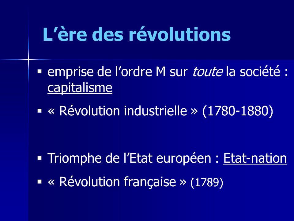 Lère des révolutions emprise de lordre M sur toute la société : capitalisme « Révolution industrielle » (1780-1880) Triomphe de lEtat européen : Etat-nation « Révolution française » (1789)