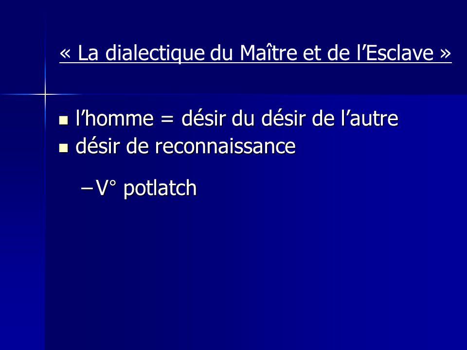 « La dialectique du Maître et de lEsclave » lhomme = désir du désir de lautre lhomme = désir du désir de lautre désir de reconnaissance désir de reconnaissance –V° potlatch
