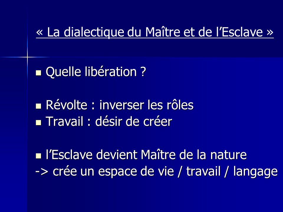 « La dialectique du Maître et de lEsclave » Quelle libération .